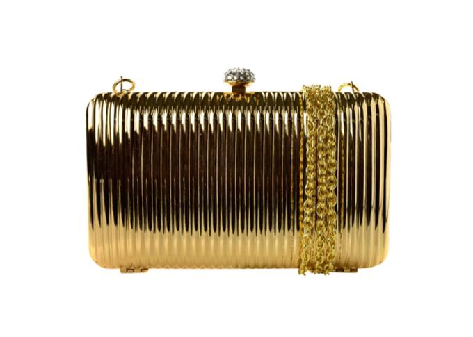 Bolsa clutch feminina dourada metelizada Viviton