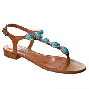 Sandália feminina com predras Ferrucci marrom