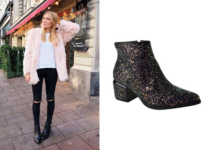 Ankle Boot feminina de Glitter preta Vizzano