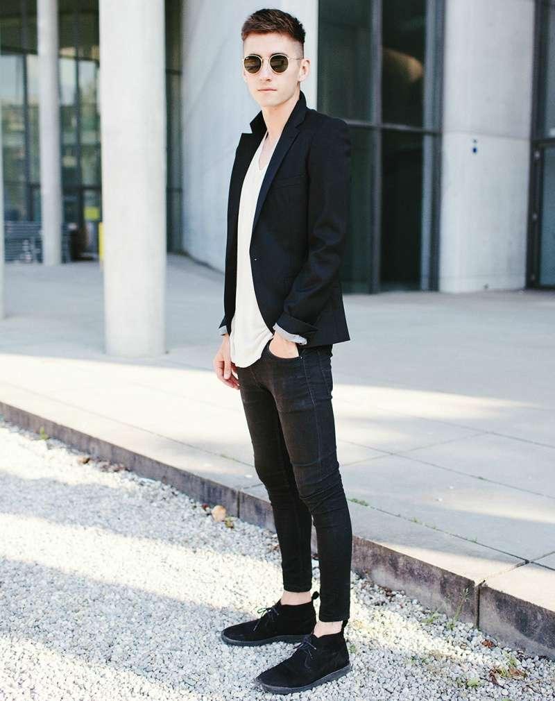 Bota masculina preta como compor esse look