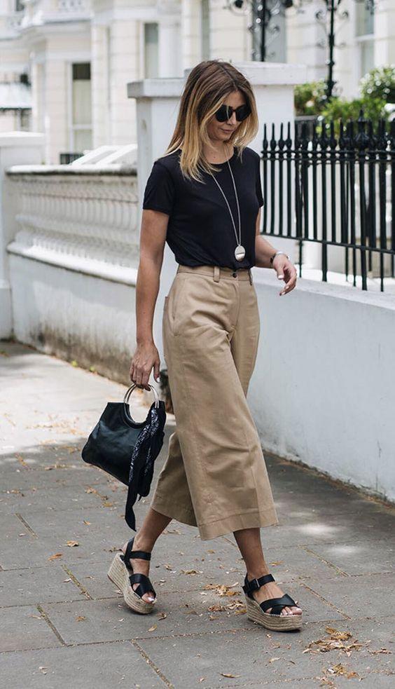 Looks com pantacourt quais os melhores calcados