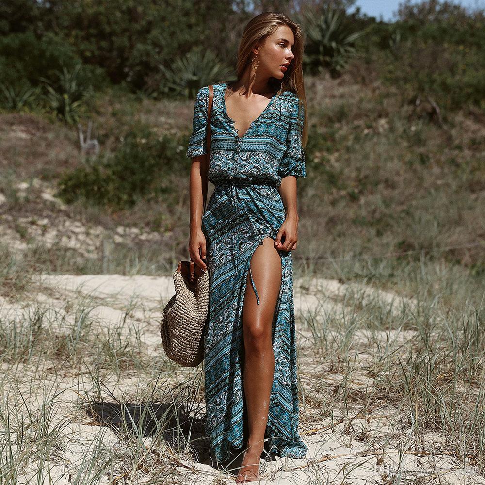 Vestido longo estampado para praia ou cidade