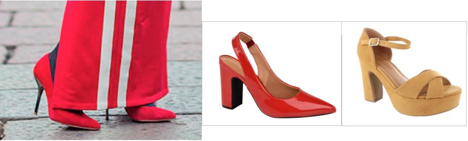 Sapato de Salto Vermelho Com moletom