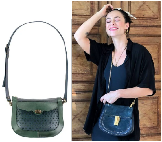 Bolsa Tiracolo Rustic Bag Leather Marinho/Verde
