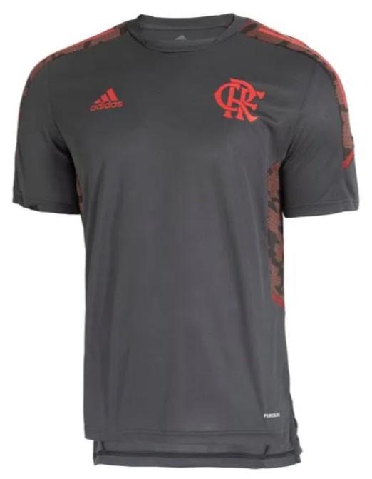 Camisa do time Flamengo, cinza escuro, com detalhes em vermelho.