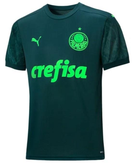 Camisa do Palmeiras, verde escuro, com detalhes em verde claro.