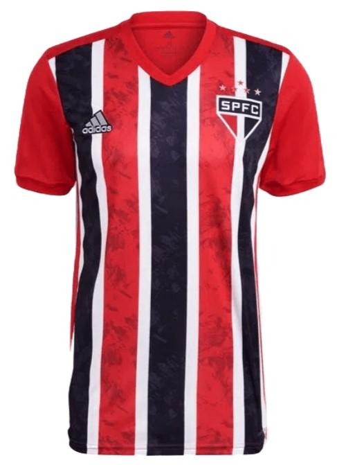 Camisa do São Paulo, nas cores vermelho, preto e branco.