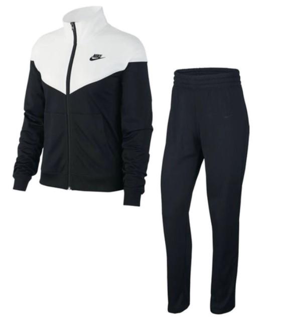 conjunto agasalho. Calça preta, jaqueta preta e branca.