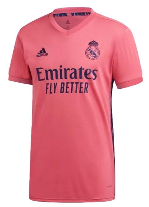 Camisa Real Madrid rosa com detalhes em azul.