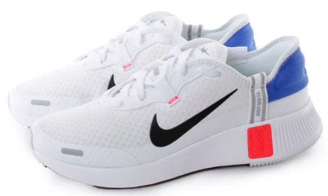 tênis esportivo branco, com detalhes azul, laranja e preto.