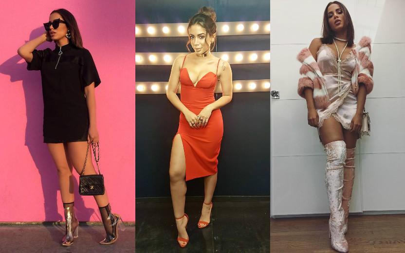 Cantora Anitta usando três  looks: um todo preto, um vestido vermelho uma roupa toda rosa