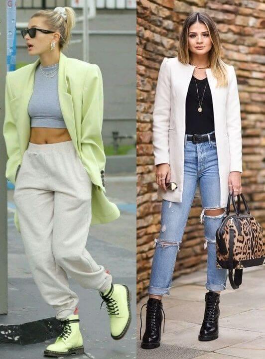 Mulheres com maxi blazer e coturno.