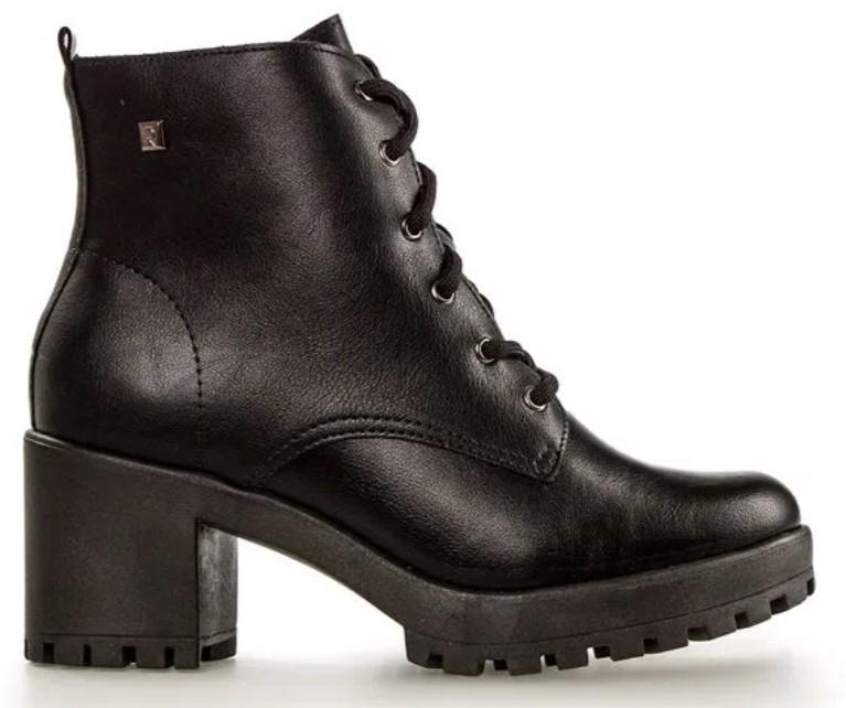 sapatos femininos confortáveis: Coturno preto, salto médio