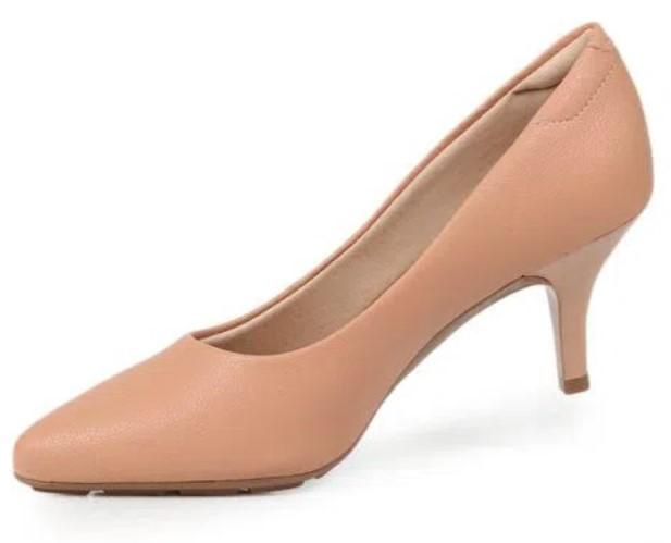 sapatos femininos confortáveis: Salto alto fino, cor nude