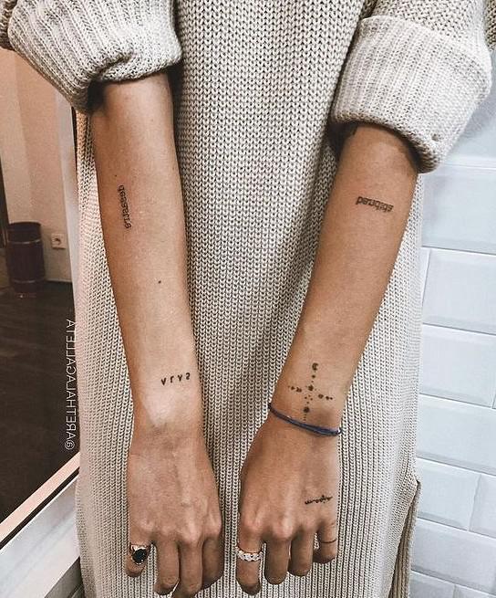 tatuagem minimalista no braço