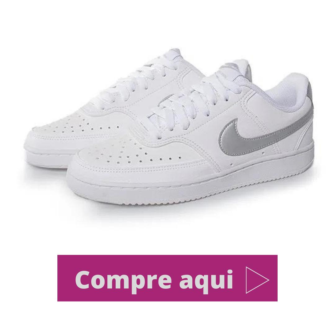 Tênis Casual Nike Court Vision Branco e prata