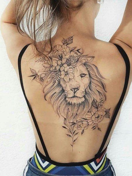 tatuagem-leao-nas-costas-com-flores-linha-fina